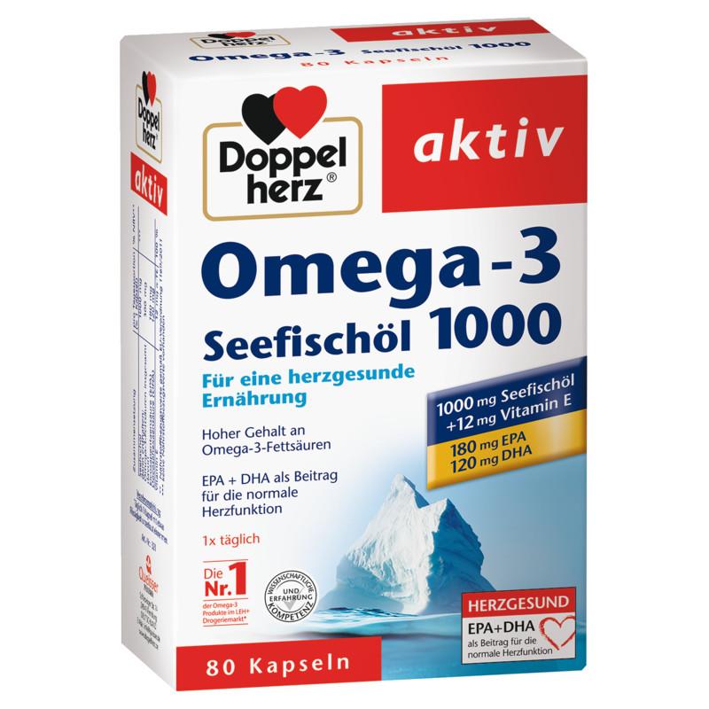 Doppelherz Omega 3 Seefischöl 1000 Kapseln – 80 Stück EAN 4009932003215