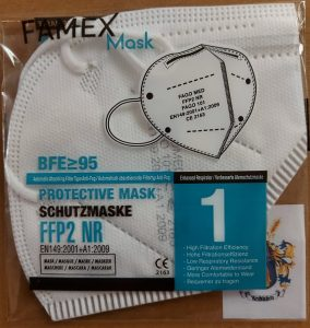 FFP2 Maske einzeln verpackt deutsche Beschriftung
